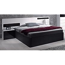 habitdesign 0t6082bo cabezal cama matrimonio y mesitas de noche color blanco y negro brillo