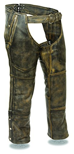 Milwaukee Leather Men's Distressed brown Leather Four Pocket Thermal Lined Chap (Black, XL) (Leather Black Boots Distressed)