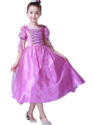 FAIRYRAIN Mädchen Prinzessin Kostüm Cosplay Halloween Rapunzel Kleid Karneval Faschingskostüm Festkleid Maxi Kleid 4-5 (Rapunzel Kleid Kleinkind)