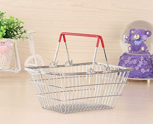 Trihedral-X Mini Ablagekorb Boutique Convenience-Store Supermarkt Einkaufskorb Schmiedeeisen Einkaufskorb tragbare kleine weiße Siebdruck (Color : Red, Size : M) -