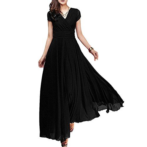 IWEMEK Damen Chiffonkleid V-Ausschnitt Lang Sommerkleider,  Brautjungfernkleid Abendkleider Maxikleid. bcaace5bc8