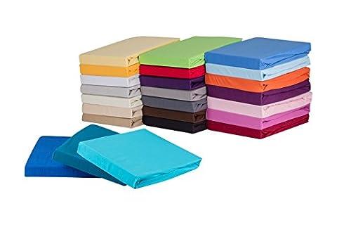 S.Ariba Soft Comfort Baumwolle Jersey-Stretch Spannbettlaken, verschiedene Farben und Größen, Weiß 90x200cm bis