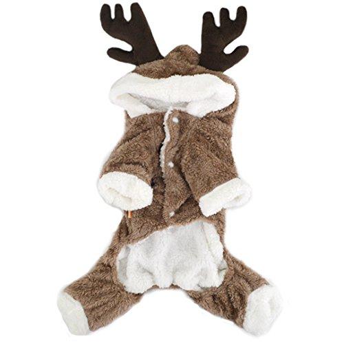 Budd Haustierkostüm für den Winter, mit Kapuze, mit Samt, für Kleine und mittelgroße Hunde, XL, braun (Hund Halloween-kostüme Extra Kleine)
