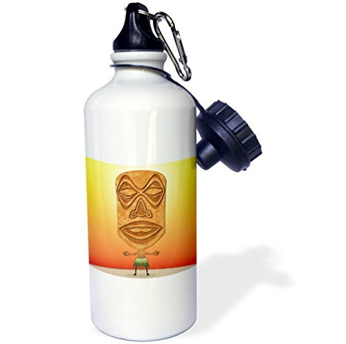 Sports Water Bottle Gift for Kids Girl Boy, Voodoo Tiki Head Voodoo Villager With Tribal Mask Standing In Tropical Environment Stainless Steel Water Bottle for School Office Travel 21oz