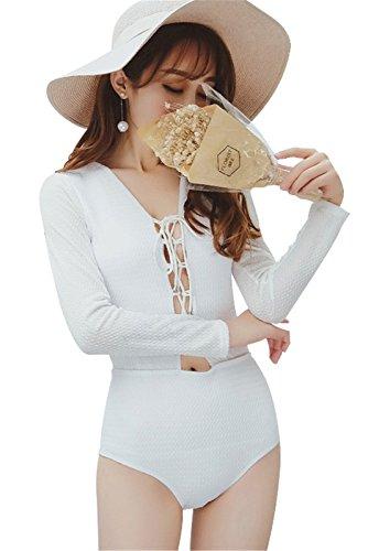 One-Piece Badeanzüge Sexy Knit Schnürung Lace Up Vorne Modest Siamese Piece Bademode Swimsuit Monokini Weiß M (Häkeln-overlay-badeanzug)