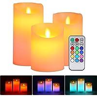 Lampe Bougie LED sans Flamme, ALED LIGHT 3 pcs Blanc Chaud et Multicolore Véritable Chandelles Bougie LED RGB à piles avec Télécommande Minuterie pour Décoration Intérieure Extérieure Mariage