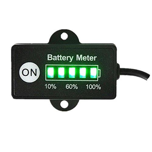 Medidor de Batería DE 12 V con indicador de Batería de Plomo ácido para Motocicleta, carros de Golf, Coches, vehículos acuáticos, con 5 segmentos LED