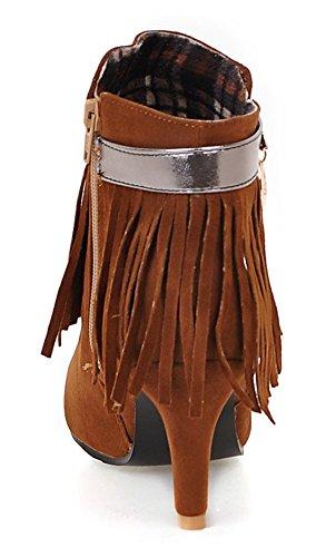 YE Damen High Heel Spitze Stiefeletten mit Fransen und Reißverschluss 8cm Absatz Herbst Short Ankle Boots Schuhe Braun