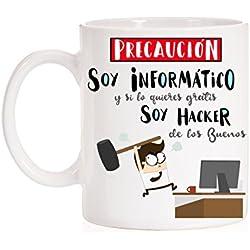 Taza Informaticos. Precaución soy Informático pero si lo quieres gratis soy Hacker de los buenos. Divertida taza de regalo