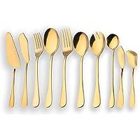Berglander Juego de cubiertos de servir de acero inoxidable dorado, Juego de cubiertos de servir dorado, Servidor de pastel, Cuchillo de pescado, ...
