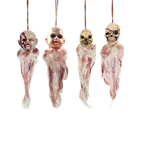 Amosfun 4 Stück hängende Geister Gruselige Anhänger Puppen Halloween Dekoration Horror Requisiten Spukhaus Party (Gruselige Puppen Für Halloween)
