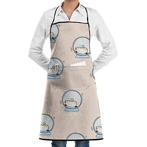 chschürze, Cute Hamster Adjustable Bib Apron with Pockets for Women Men Chef, Black ()