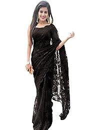 Swara Fashion Women's Nylon Net Thread Work Saree(SFPSN-111-F_Black)