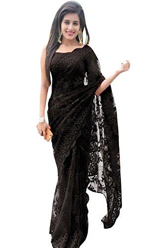 Swara Fashion Women\'s Nylon Net Thread Work Saree(SFPSN-111-F_Black)