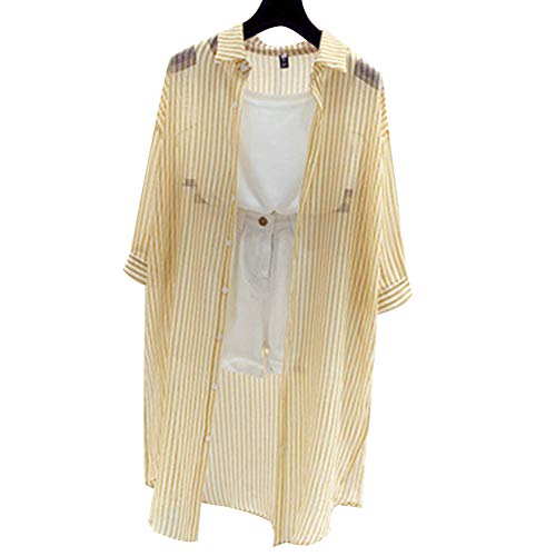 Effacer Gestreiftes Damenhemd, ultradünne Sonnenschutzkleidung mit Langen Ärmeln, Strandbadebekleidungsjacke(XL-Gelb) - Lange Ärmel Schiere Mantel