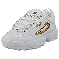 FILA Disruptor II Metallic Accent Women's Sneakers, 6.5 UK/39.5 EU, White/Gold