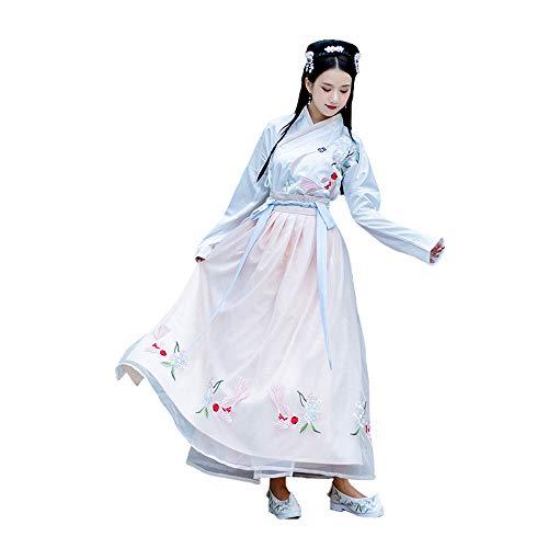 YCWY Chinesisches Hanfu Kleid der Frauen, gesticktes Kostüm-Fee-Klage-Kostüm, traditionelle Weinlese-Lange Hülsen-Cosplay-Aufführungsparty-Rock, Halloween Weihnachten,M