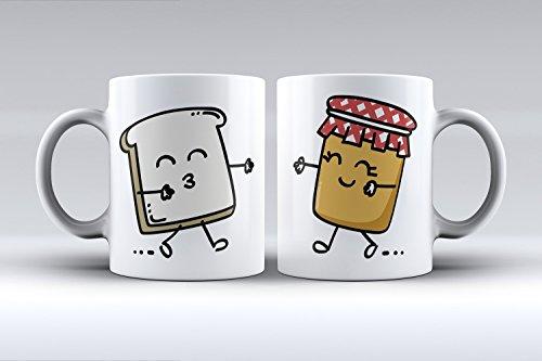 Pack 2 tazas ilustración tostada y tarro de mermelada decorada desayu