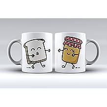 Pack 2 tazas ilustración tostada y tarro de mermelada decorada desayuno regalo original pareja