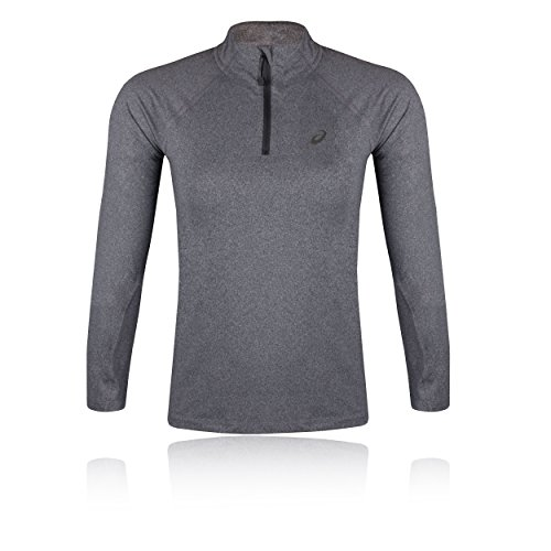ASICS Damen Long Sleeve 1/2 Zip Langarmshirt, Dark Grey Heather, M -