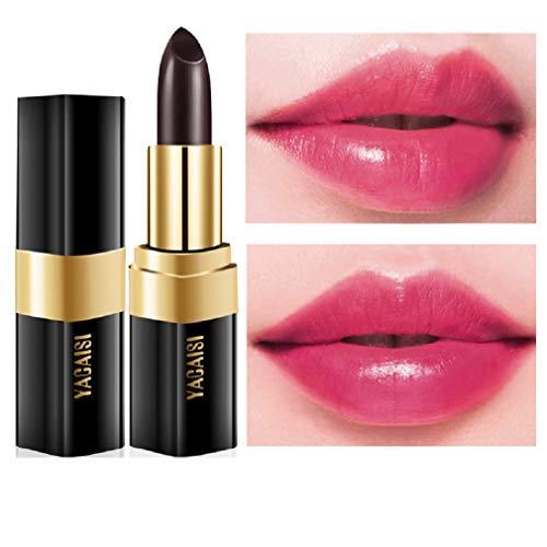 RichDeer Femmes Lip Stick Brillant à lèvres Rouge à lèvres Température Changement de Couleur Soin hydratant pour Les lèvres - Rose Noire