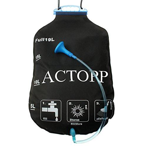 AcTopp Bolsa Ducha Solar 19L EVA Plegable Portátil para Camping Excursión Al Aire Libre Color Negro