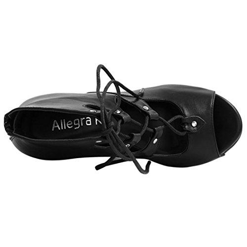 Allegra K Femme à lacet Découpe Sandales Compensées Noir