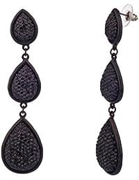LUX accesorios negro con textura lágrima Pendientes Colgantes