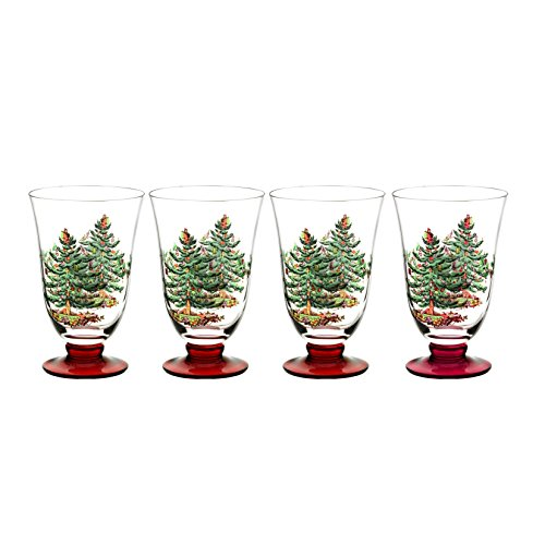 Spode Christmas Tree Glass Footed All Purpose Glasses with Red Stem, Set of 4, 18-ounce by Spode Spode Christmas Tree Glass
