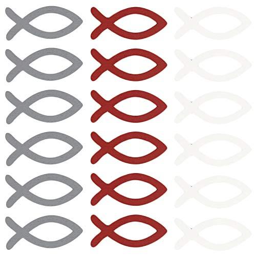 Oblique Unique® 18 Holz Fische Tischdeko Taufdeko Streuartikel Streudeko Verzierung für Taufe Kommunion Konfirmation Firmung Weinrot Grau Weiß - Echtholz