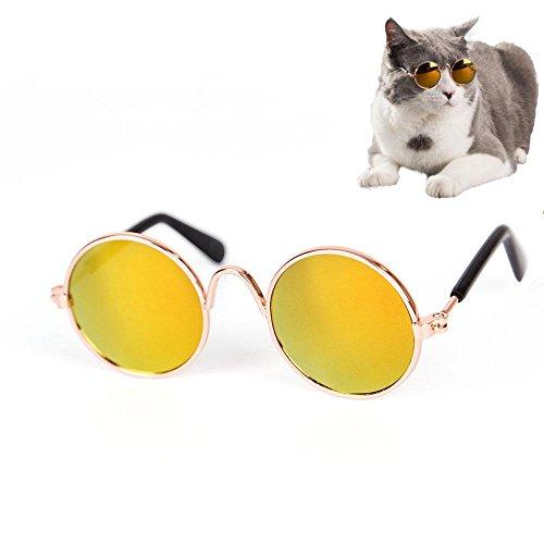 Aolvo Gafas de sol Cool Fashion y divertidas para mascotas, gafas de sol clásicas de metal circulares para gatos o perros pequeños, juguetes para fotos de cachorros y gatitos