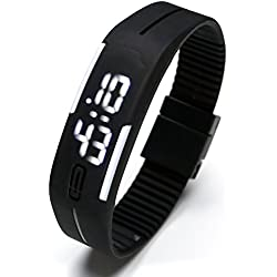 JSDDE Simple Gel Rubber Bracelet Touch Screen LED Digital Display Unisex Sports Watch - Black