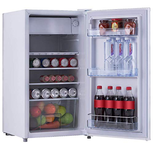 COSTWAYFrigo Combiné Congélateur Réfrigérateur Mini-Réfrigérateur,Capacité91L,230v,50HZ Classe d'Efficacité Energétique A+,Certification CEL Blanc