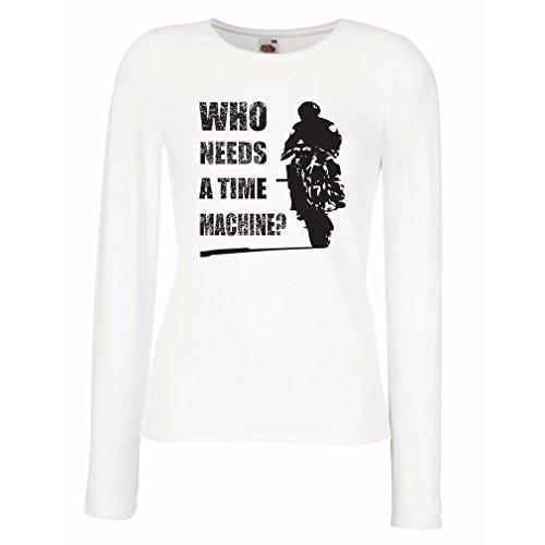 Maniche Lunghe Femminili T-Shirt Abbigliamento Moto (Medium Bianco