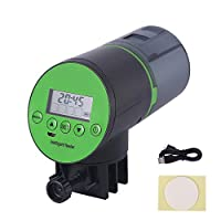 Relax love Automatic Fish Feeder Usb Charger Large-Capacity Lithium Battery Fish Food Dispenser for Aquarium Fish Tank with Lcd Display Four Times Accurate Daily Feeding