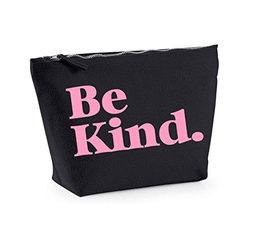 Be Kind - Fun Slogan, Make Up and Cosmetics Bag, Accessory Organiser Black/pink