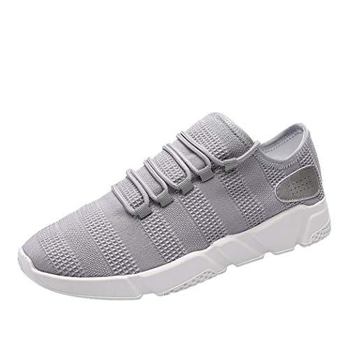 Herren Sneaker,Absolute Sportschuhe Outdoor Turnschuhe Männer Mode Freizeitschuhe Mesh Atmungsaktiv Schuhe Gym Schuhe Laufschuhe (43 EU, Grau)