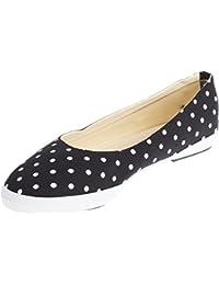5a259470000745 50s POLKA DOTS Punkte Retro Canvas Schuhe BALLERINAS Flats Blk Rockabilly