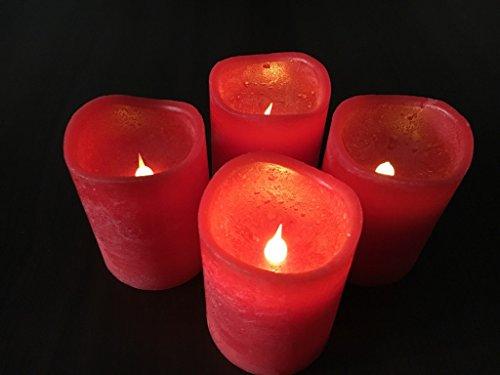 4er Set LED Echtwachskerzen flackernd mit Fernbedienung LED Kerzen mit Flackereffekt für Adventskranz rot - Wunderschönes Set Echtwachskerzen LED mit Fernbedienung - jede Kerze ist einzeln schaltbar - tolle Weihnachtsbeleuchtung für innen, auch als Deko flammenlose Kerzen Set ein toller Hingucker - erhältlich in den Farben rot oder weiß (rot)
