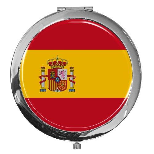"""metALUm Premium - Taschen - Spiegel aus verchromten Metall""""Flagge Spanien"""" mit edler, hochglänzender Kunstharzbeschichtung - tolles Geschenk für Spanien - Fans"""