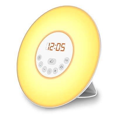 B.K. Licht radio-réveil LED, réveil lumineux 7 couleurs, simulation lever/ coucher du soleil, 5 sonneries sons nature, radio FM digital, lampe de chevet, veilleuse, fonction tactile, 230V de B.K.Licht