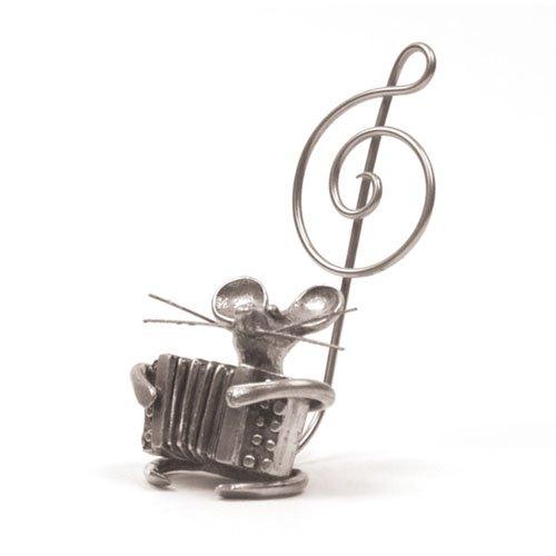 Souris Accordéon Miniature - Porte-Photo - Etain 95,5% - Fabriqué en France - Objet déco - Cadeau musique