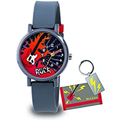 Tikkers Boy's Quartz Watch with Grey Dial Analogue Display and Grey Silicone Strap ATK1015