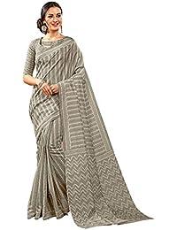 1dc237a7b93 Craftsvilla Womens Bhagalpuri Silk Printed Traditional Grey Saree with  Unstiitched Blouse Piece