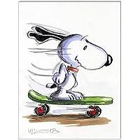 Original Feder und Aquarell auf Aquarellkarton: Peanuts Snoopy Skater / 24x32 cm