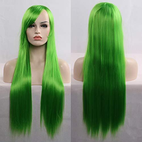 Perücken-32Inch/80Cm Langes Gerades Haar 100% Hitzebeständige Perücke Für Cosplay/Halloween Party Kostüm Inklusive WIG Care 5 Stück Set,Green