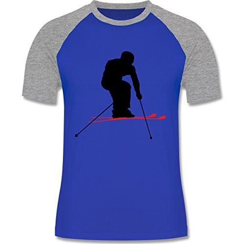 Wintersport - Skifahren Urlaub - zweifarbiges Baseballshirt für Männer Royalblau/Grau meliert