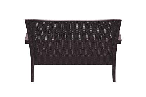 CLP 2er Rattan Garten Lounge-Sofa MIAMI V2, Vollkunststoff in Rattan-Optik, ca. 130 x 80 cm, mit Sitzkissen, stapelbare Sitzbank Braun - 5