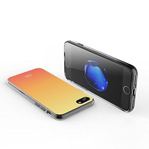 iPhone 7 Hülle, technext020 niedliche Slim iPhone 7 Bumper, weiche Flexible Silikon Farbverlauf Abdeckung Violett Gradient Orange