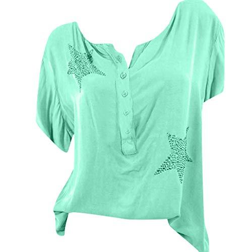 Camicia donna elegante manica lunga 3/4 estive bluse e camicia elegantei casual button taglie forti sciolto girocollo hot drill stampa sexy moda camicetta blusa riou economiche (s, verde 1/2 manica)